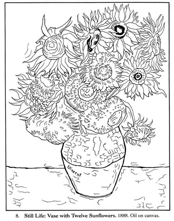 Welcome To Dover Publications Van Gogh Coloring Van Gogh Art Sunflower Coloring Pages