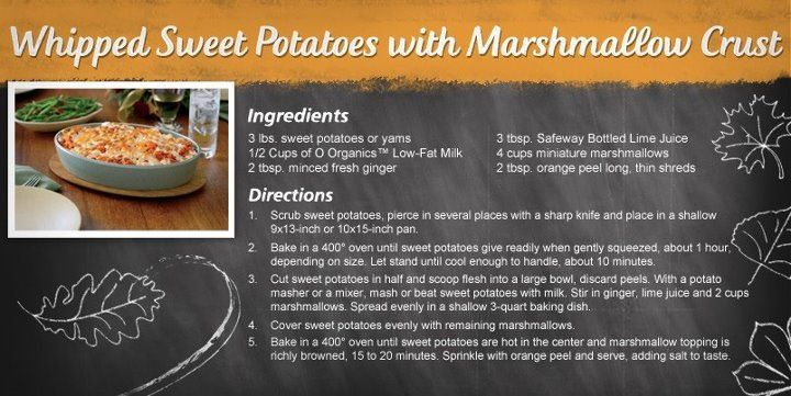 Mashes sweet potatoes with a marshmallow crust