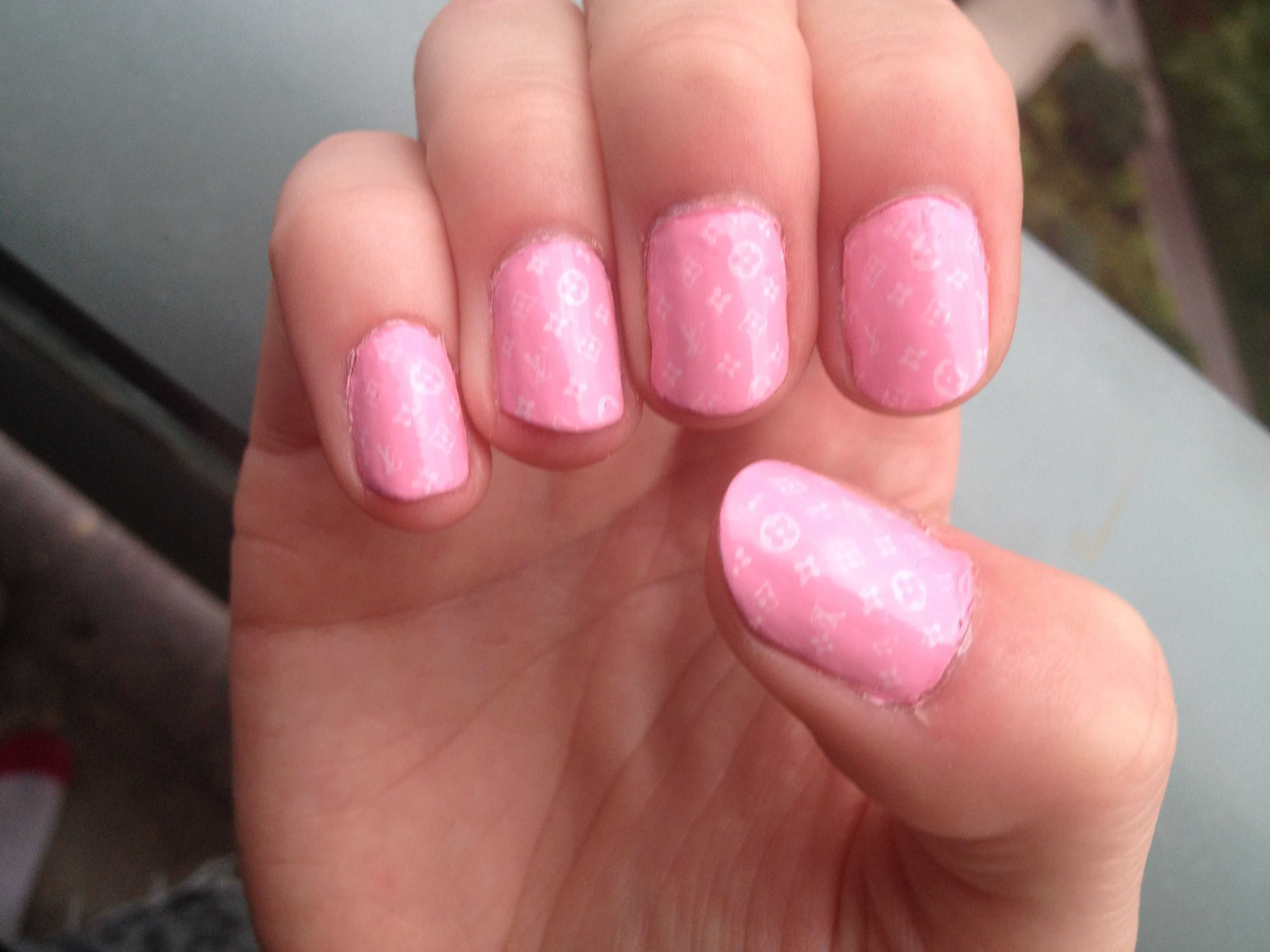 Baby pink Louis Vuitton print mani! I am in serious love   baby pink louis