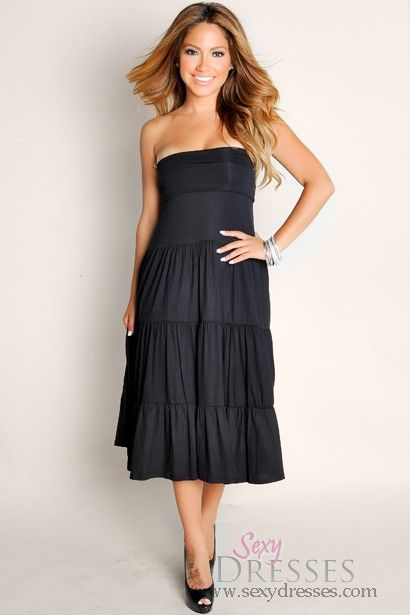792fbf91955 Sexy Black Beach Babe Flowy Strapless Tube Top Maxi Dress Talle  S