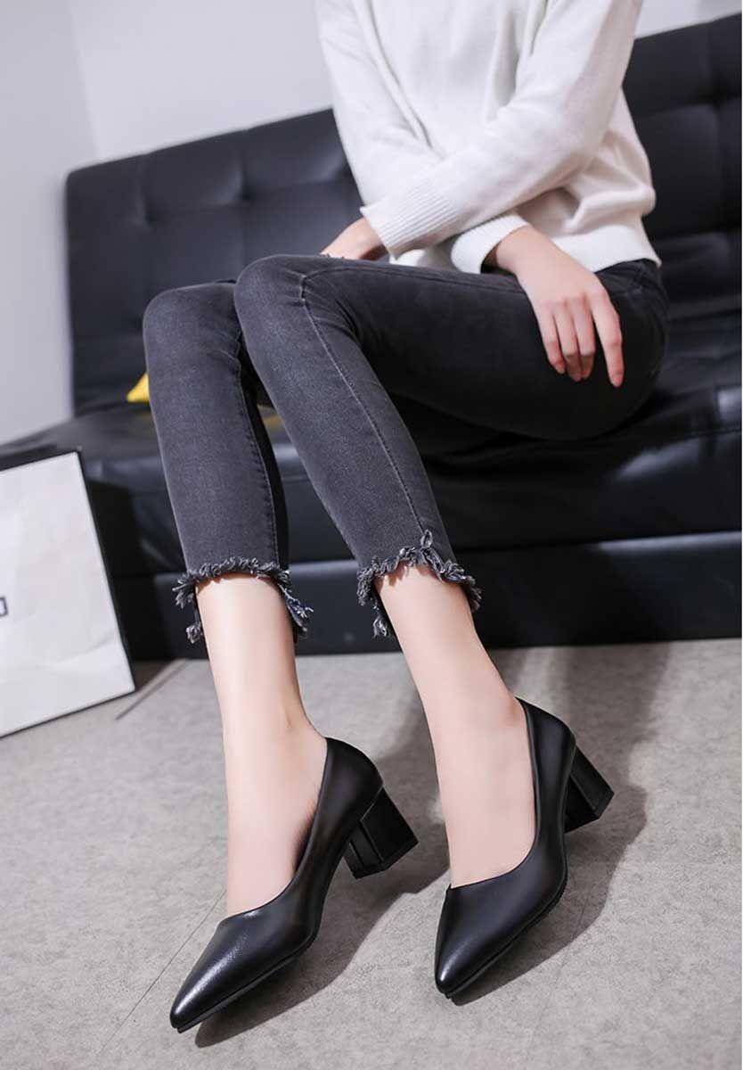 Black Slip On Mid Thick Heel Dress Shoe Point Toe Dress And Heels Black Slip Ons Womens Black Heels [ 1200 x 834 Pixel ]