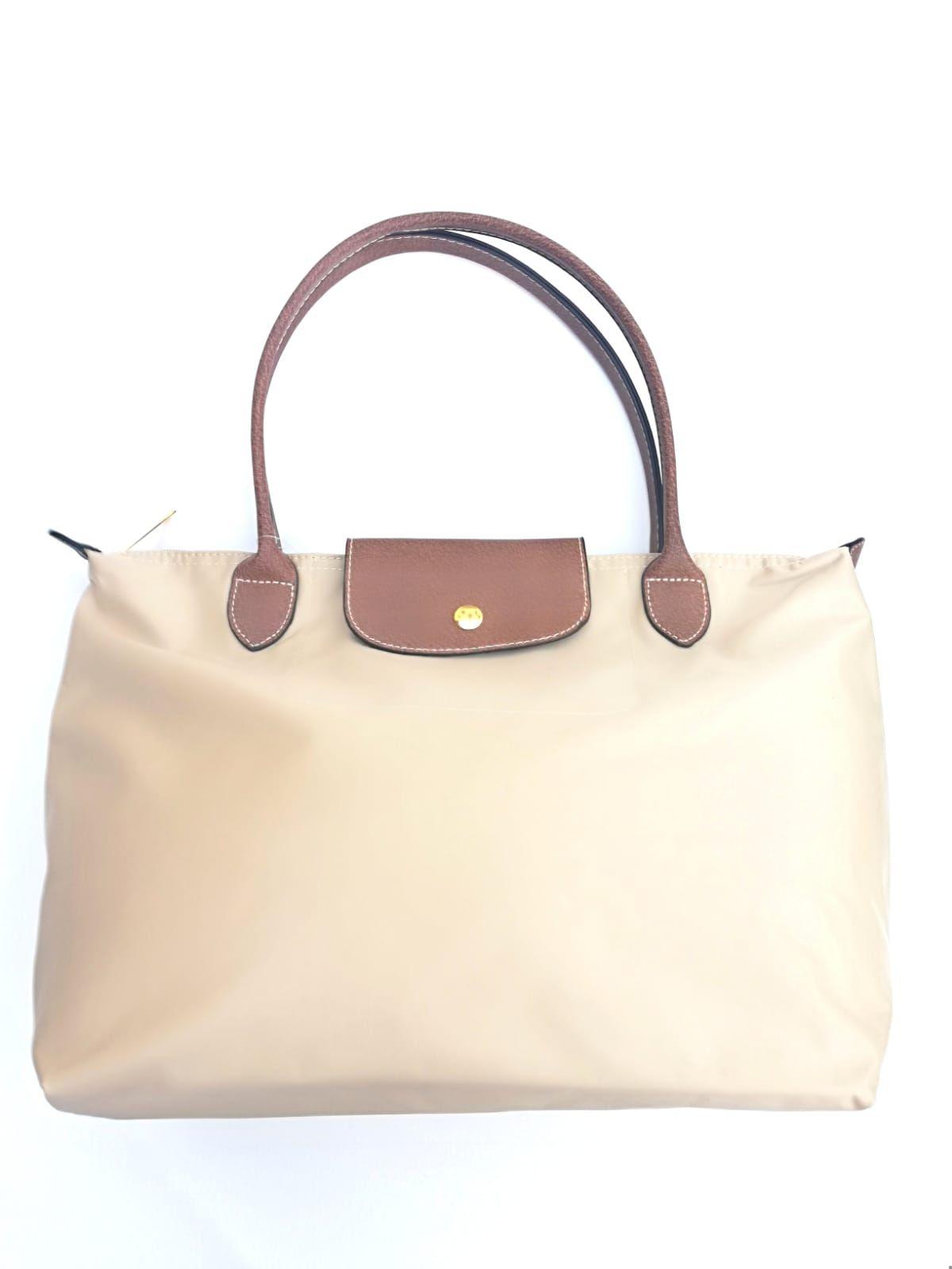 84a452dbf Bolso shopper mediano beige con asas y cierre imitación piel marrón  tendencia complementos