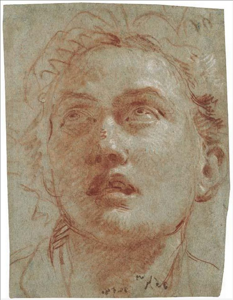 Giovanni Battista Tiepolo 1696 1770 Head Of A Man Looking Up 210 X 162 Mm Portrait Drawing Drawings Life Drawing