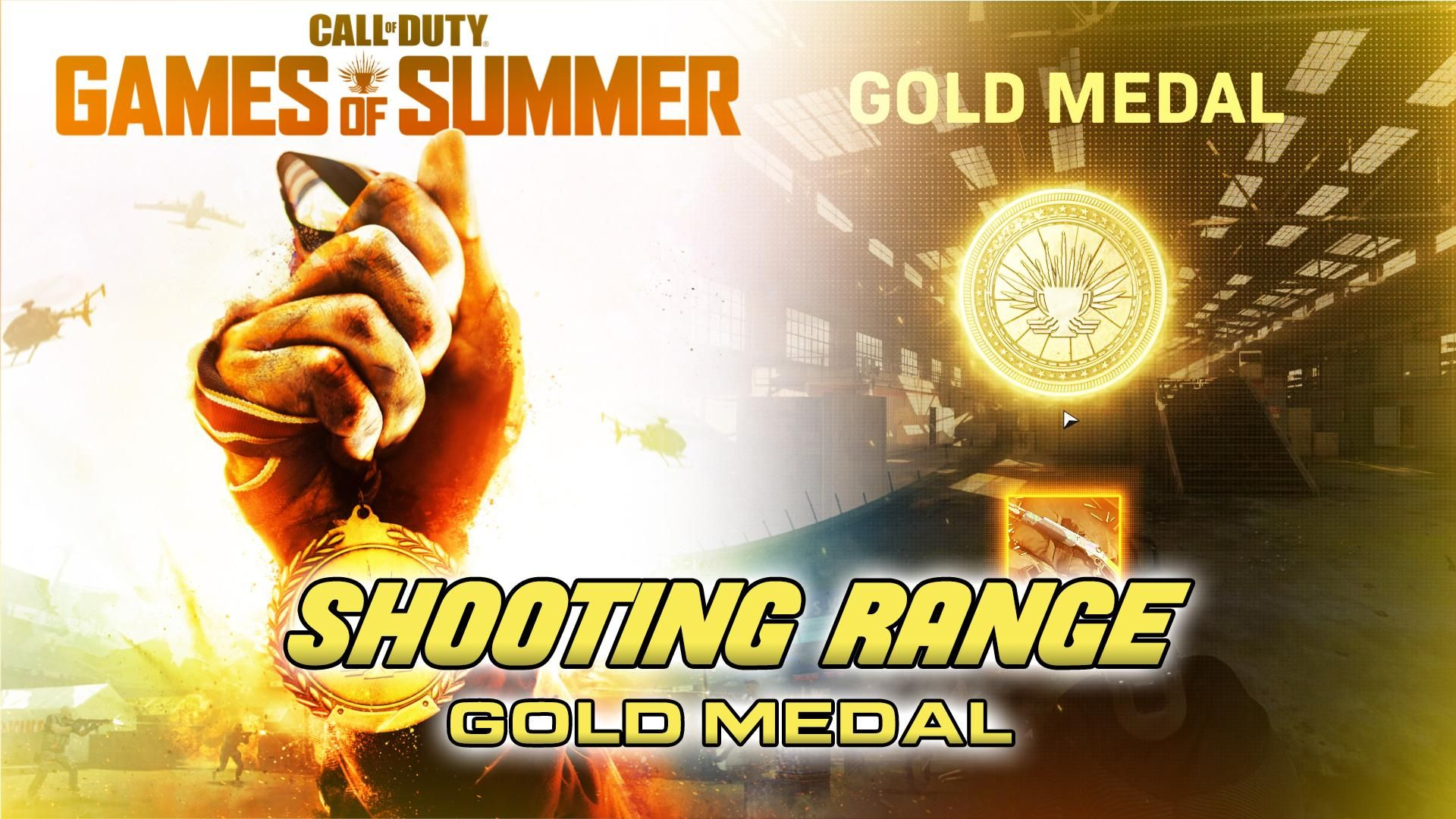 Call Of Duty Warzone Games Of Summer Day 5 Shooting Range Gold Medal Video First Person Shooter Games Call Of Duty Gold Medal