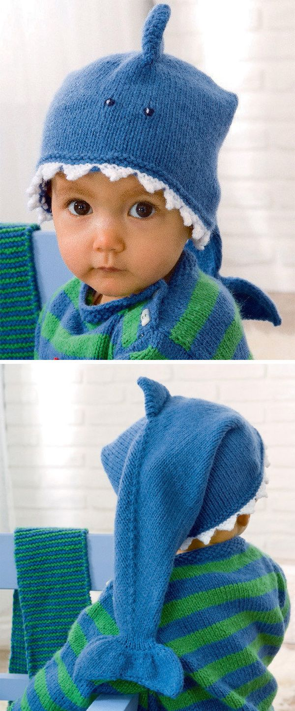 Free Knitting Pattern for Baby Shark Hat - Sized to fit 38cm to 42cm head.  Designed by Schachenmayr. DK weight yarn. 9fa0444f8609