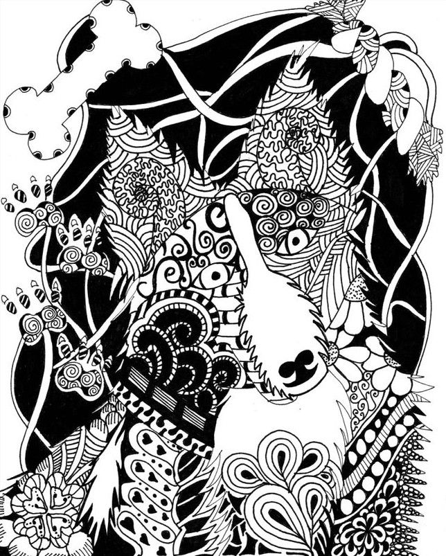 Dog zentangle adult colouring page