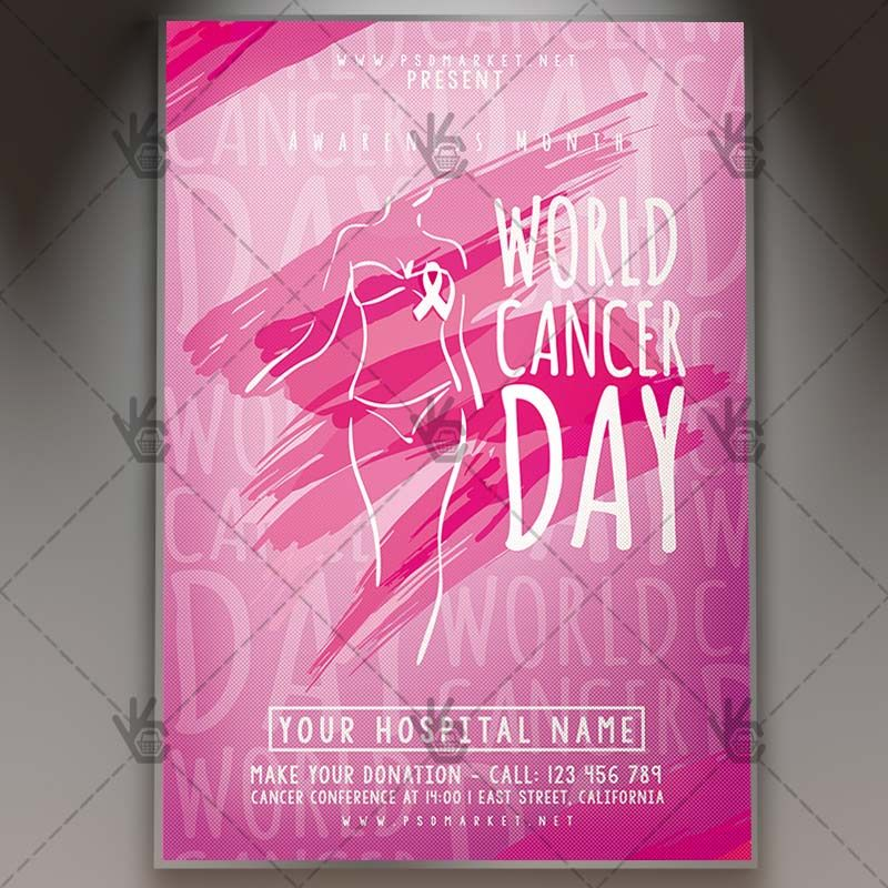 World Cancer Day Event  Charity Flyer Psd Template Anniversary