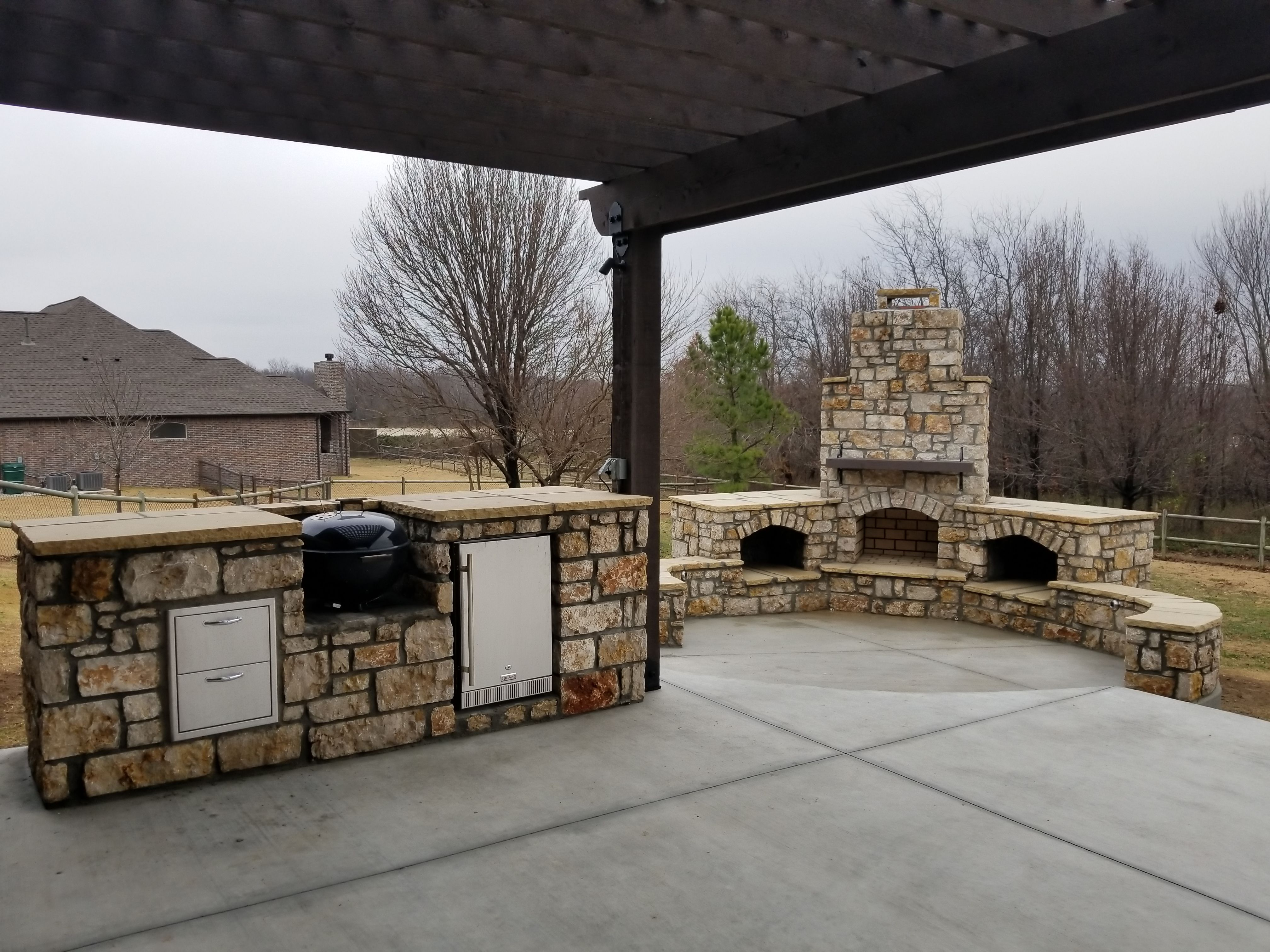 Stone Fireplace And Outdoor Kitchen Builder In Oklahoma City