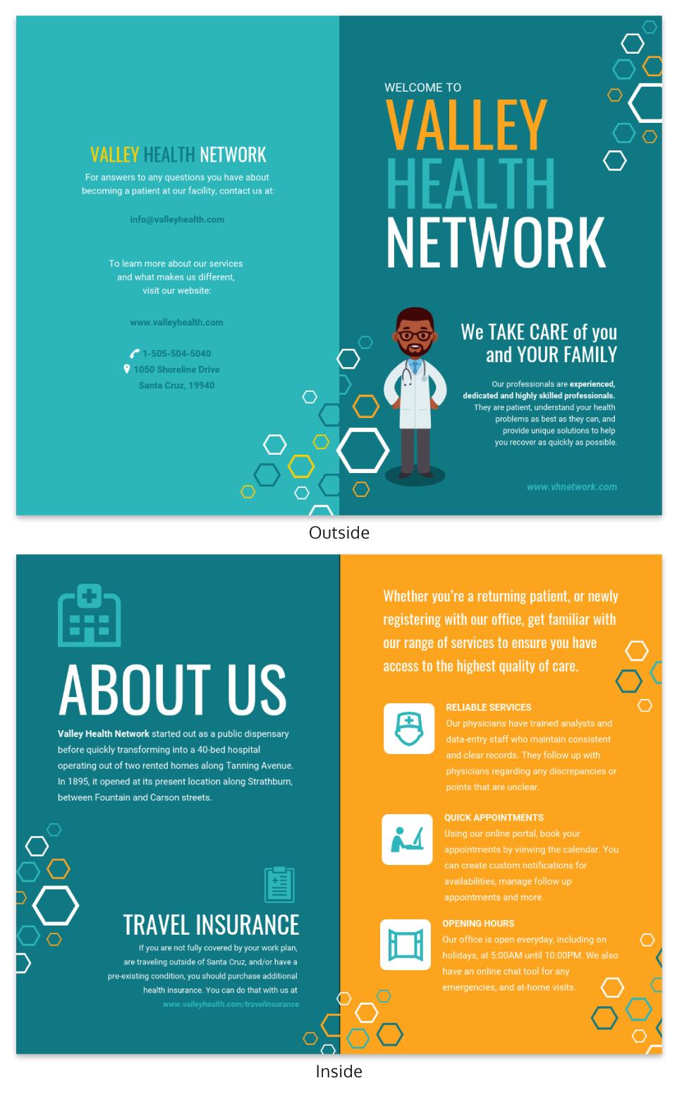 Teal Medical Informational Pamphlet Template Pamphlet Template Brochure Template Free Brochure Template