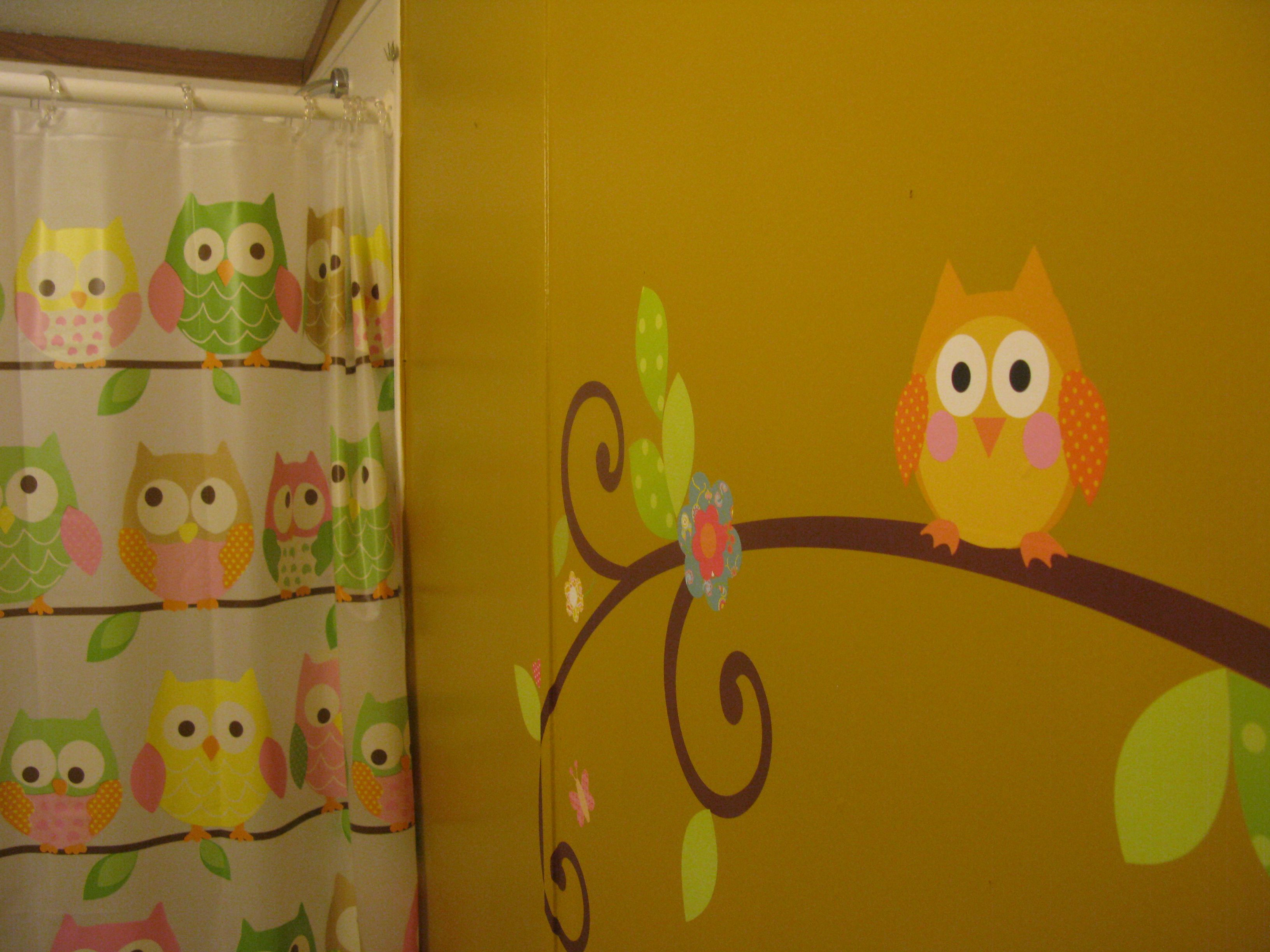 Bathroom owl decor - The Girls Bathroom We Painted A Mustard Yellow Wall With Owl Wall Decals
