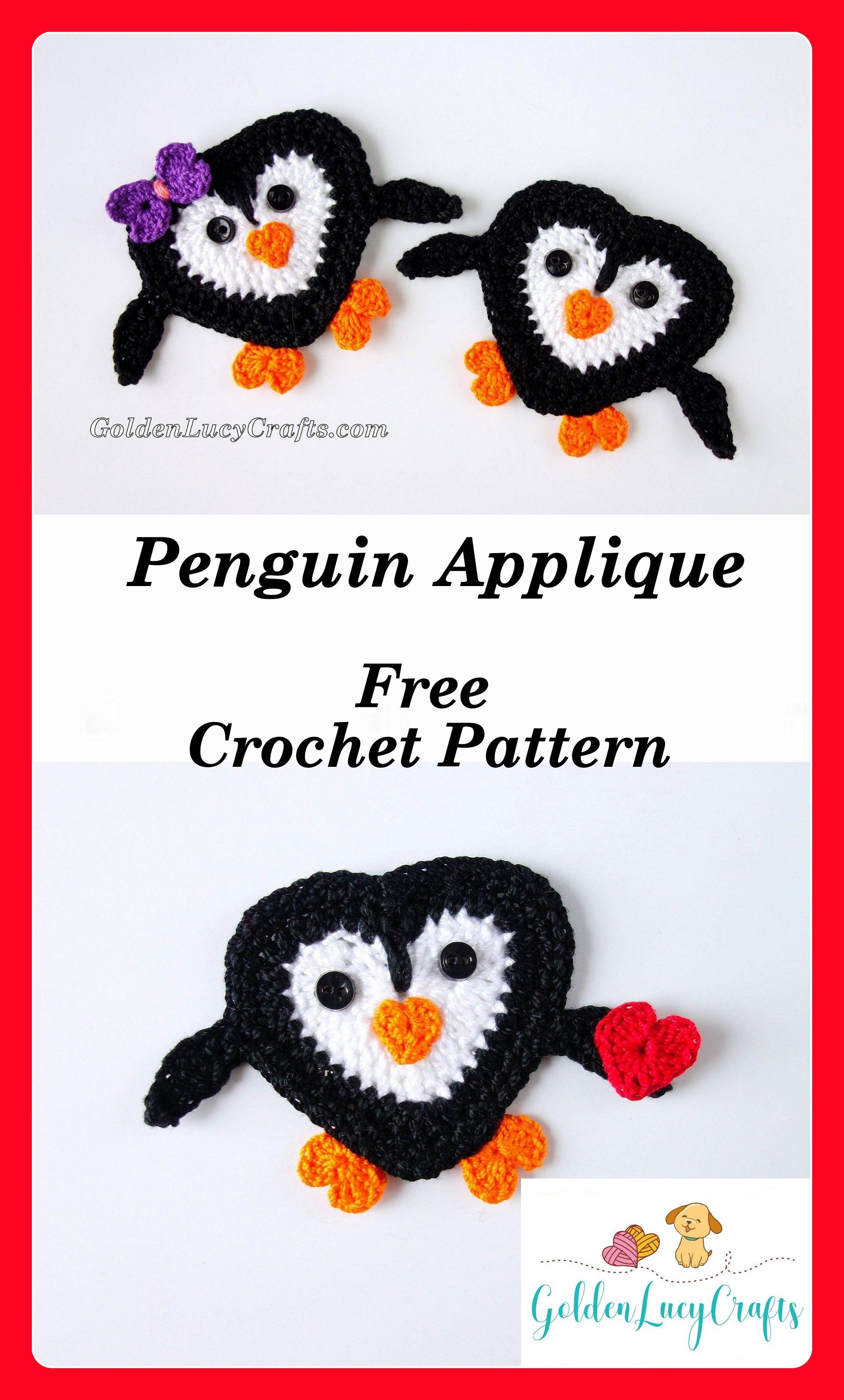 Penguin Applique, free crochet pattern - GoldenLucyCrafts | Free ...