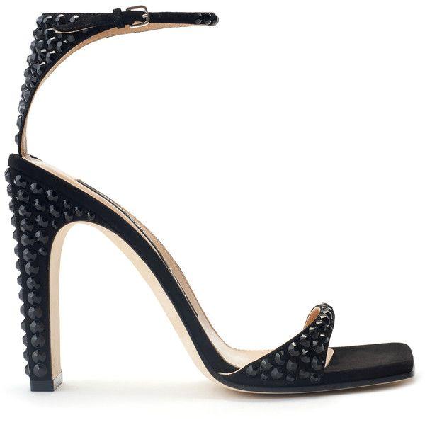 Sergio Rossi SR1 Black Crystal Embellished Sandal ($1,100) ❤ liked on Polyvore featuring shoes, sandals, black, black sandals, suede shoes, suede leather shoes, suede sandals and sergio rossi sandals