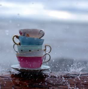 teacups in the rain