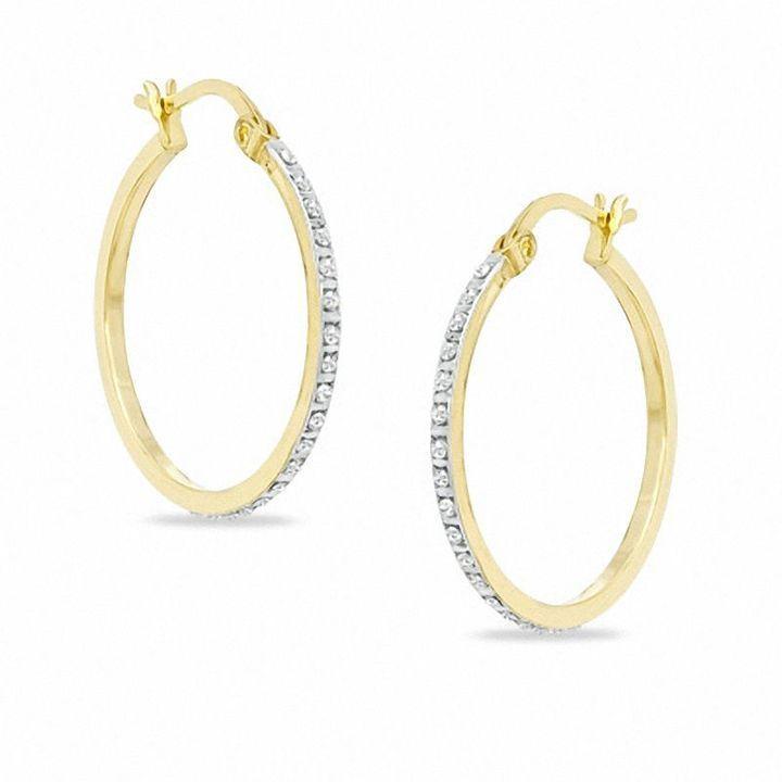 Zales Diamond Fascination J-Hoop Earrings in Sterling Silver with 18K Gold Plate 7ADOar