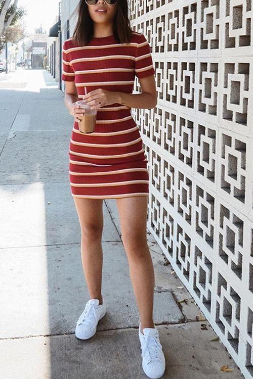 Stripe O Neck Short Sleeve Mini Dress