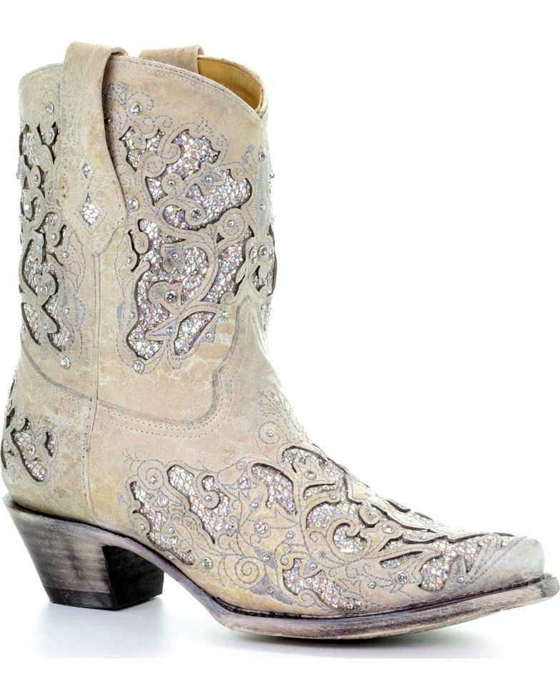 35eefdcb307e Corral Women's Metallic Glitter Inlay & Crystals Ankle Boots - Snip Toe,  White