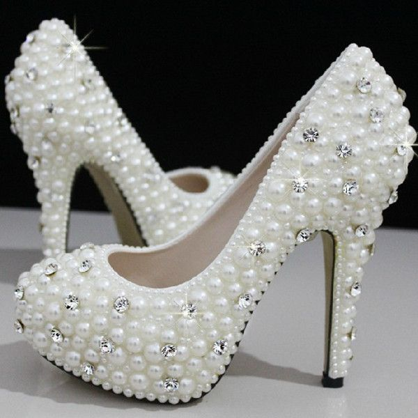 Cinderellas Wish Crystal Pearl Wedding Shoes