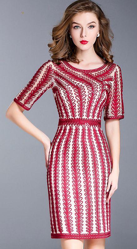 Brief Striped Mid-rise Short Sleeve Bodycon Dress   Vestido fiesta ...