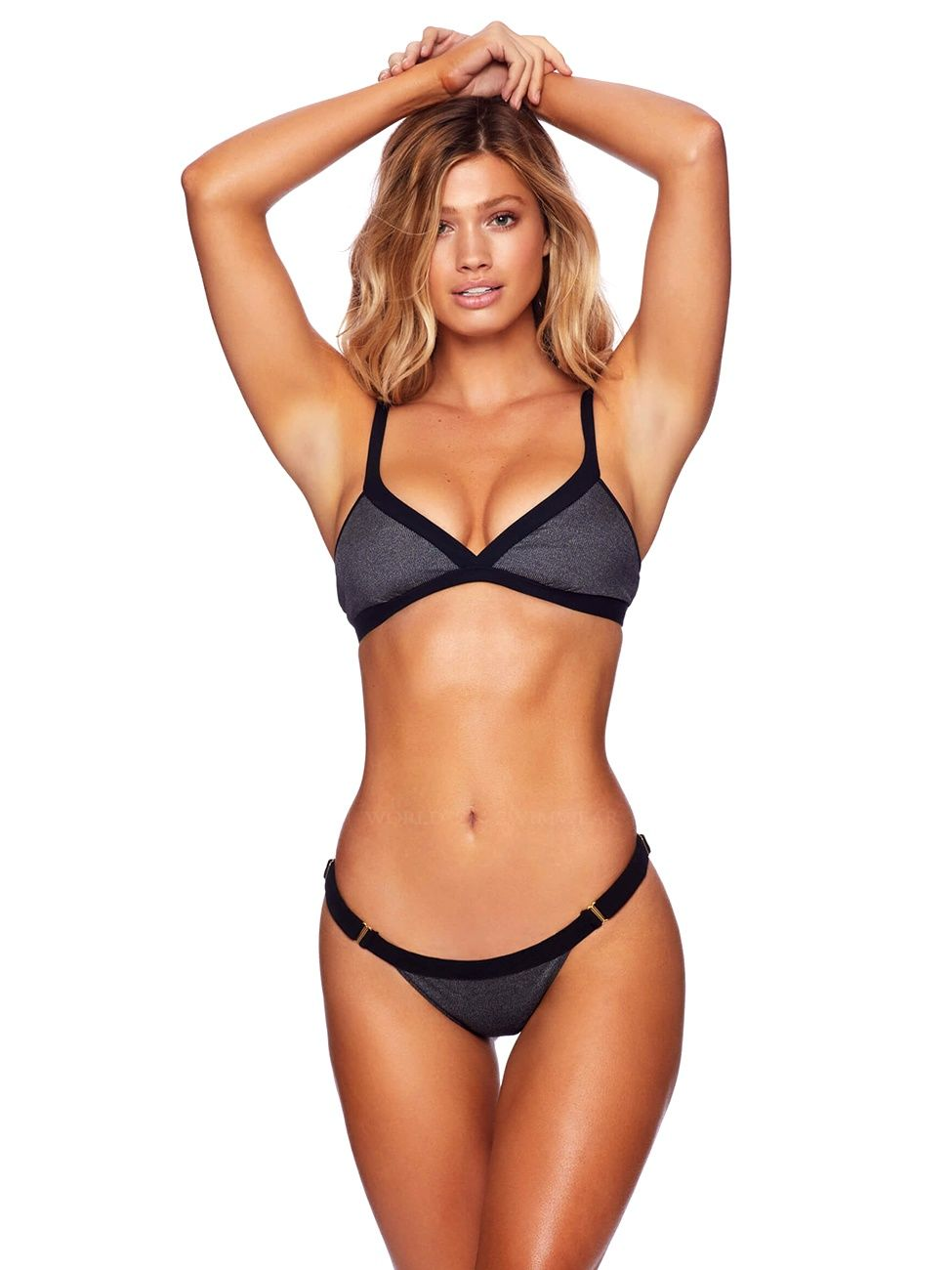 f8202adc02 Ribbed triangle bikini top with adjustable shoulder strap with back clip  closure. Low rise ruched back bikini bottom with adjustable side straps.