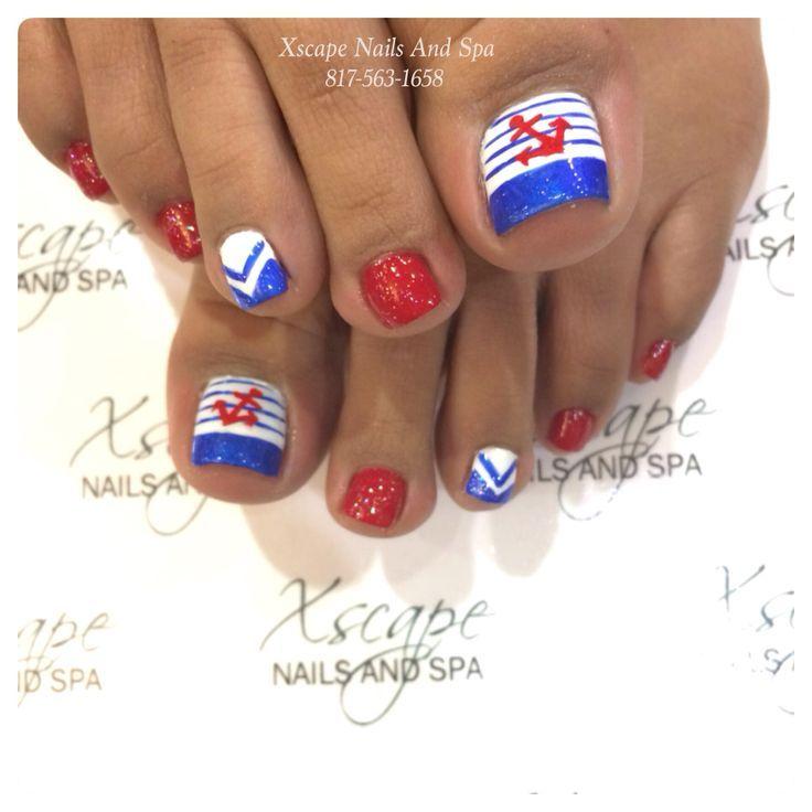 Pedicure: patriotic and nautical. Nail Design, Nail Art, Nail Salon, Irvine, Newport Beach