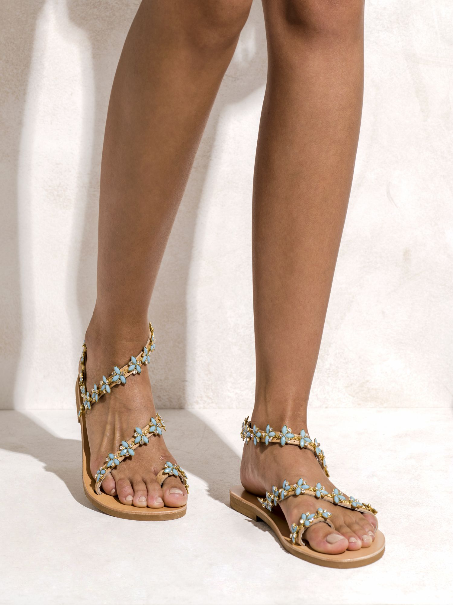c2bee9b43c70e8 Handmade genuine greek leather sandals decorated with Italian made gold  plated braid with turquoise opal and