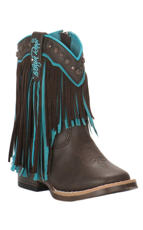 Turquoise Fringe Square Toe Boots