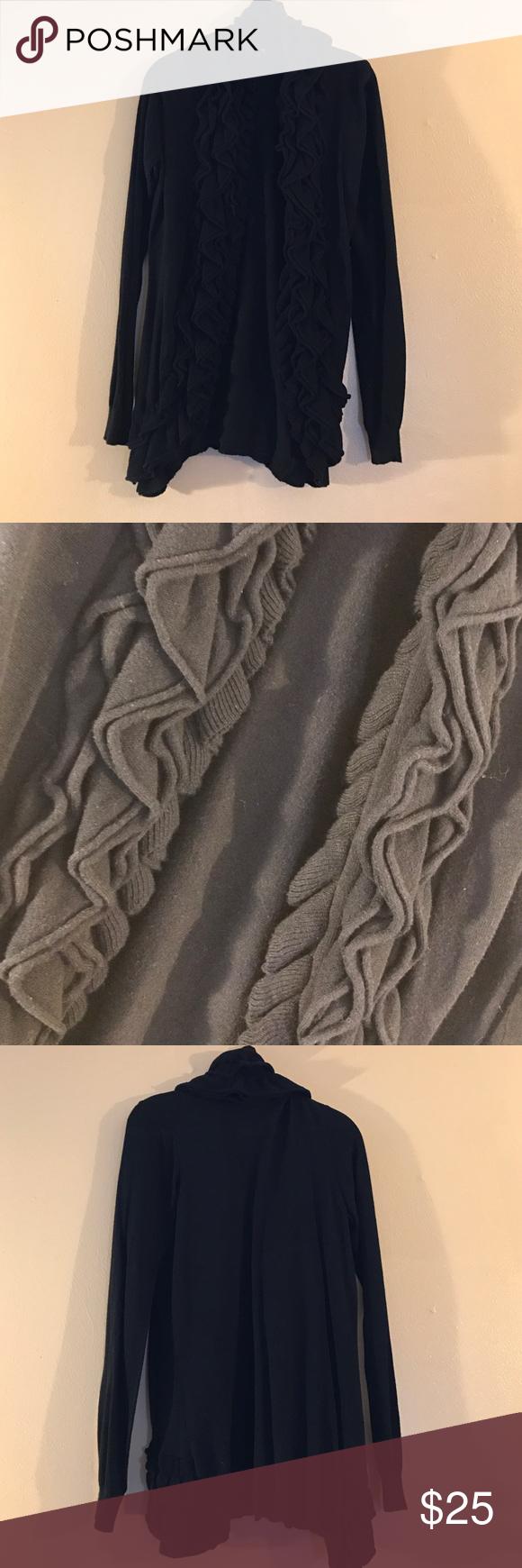 Bebe Shrug Open Front Ruffle Cardigan Ruffle Cardigan, long style, black 55% cotton/ 45% rayon. NO TRADES bebe Sweaters Shrugs & Ponchos