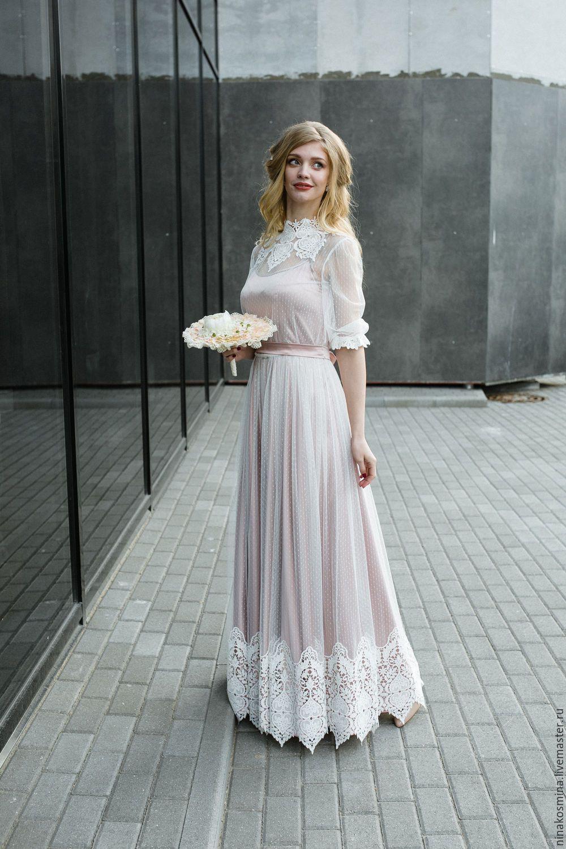 61f49033b54 Купить Винтажное свадебное платье - бледно-розовый