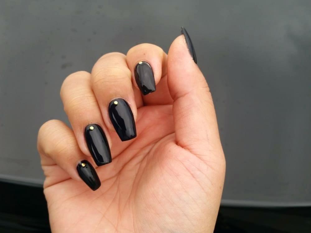 Acrylic Nails Coffin Shape Gel Acrylic Nails Gold Nails Black Gel Nails
