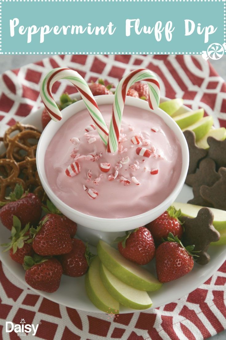 Peppermint Fluff Dip Daisy Brand Sour Cream Cottage Cheese Recipe Xmas Food Holiday Desserts Christmas Baking
