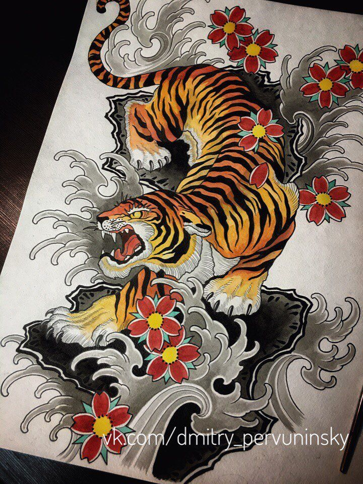 Pervuninsky Dmitry Customrose Tattoo Tattoo Sketch Yaponskaya Tatuirovka Japanese Tiger Tattoo Tiger Tattoo Sleeve Japanese Tattoo