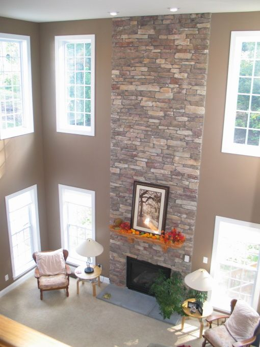 Cozy Chocolate Brown Living Room Brown Living Room High Ceiling Living Room Living Room Corner #two #story #living #room #with #fireplace