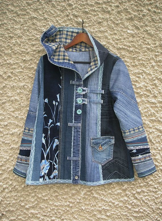 3a6e2b65e76 One of a kind hooded A-line denim jacket. Panels of various denim fabrics  were sewn together with decorative seams. Unlined. Bottom hem and hood were  edged ...
