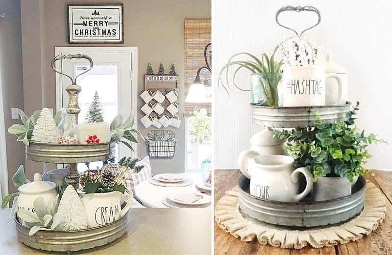 Perfect vintage galvanized two tiered tray to organize and