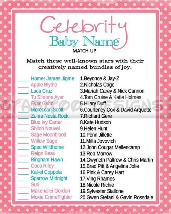 Celebrity+baby+name+match+up+baby+shower+games | events for life\'s ...