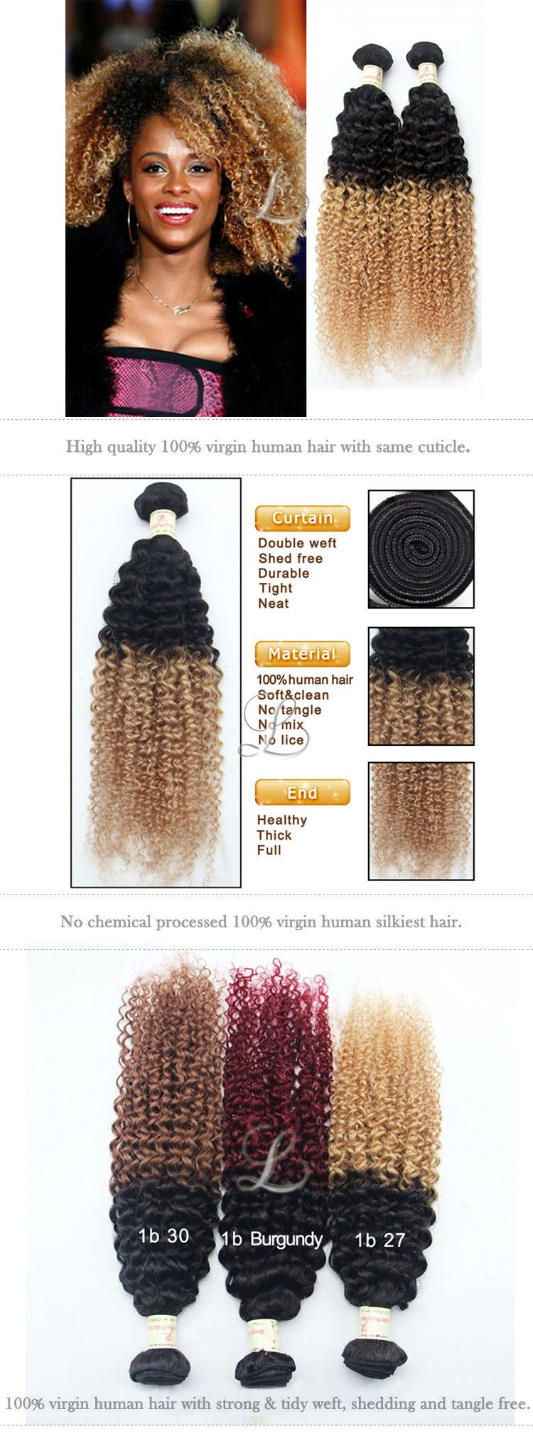 Latest hair extensions b two tone colors ombre hair weave curly