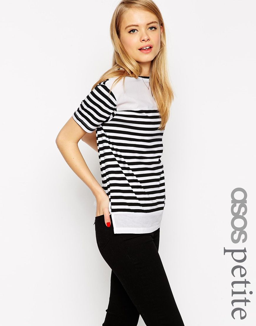 ASOS PETITE Top In Stripe With Woven Panels
