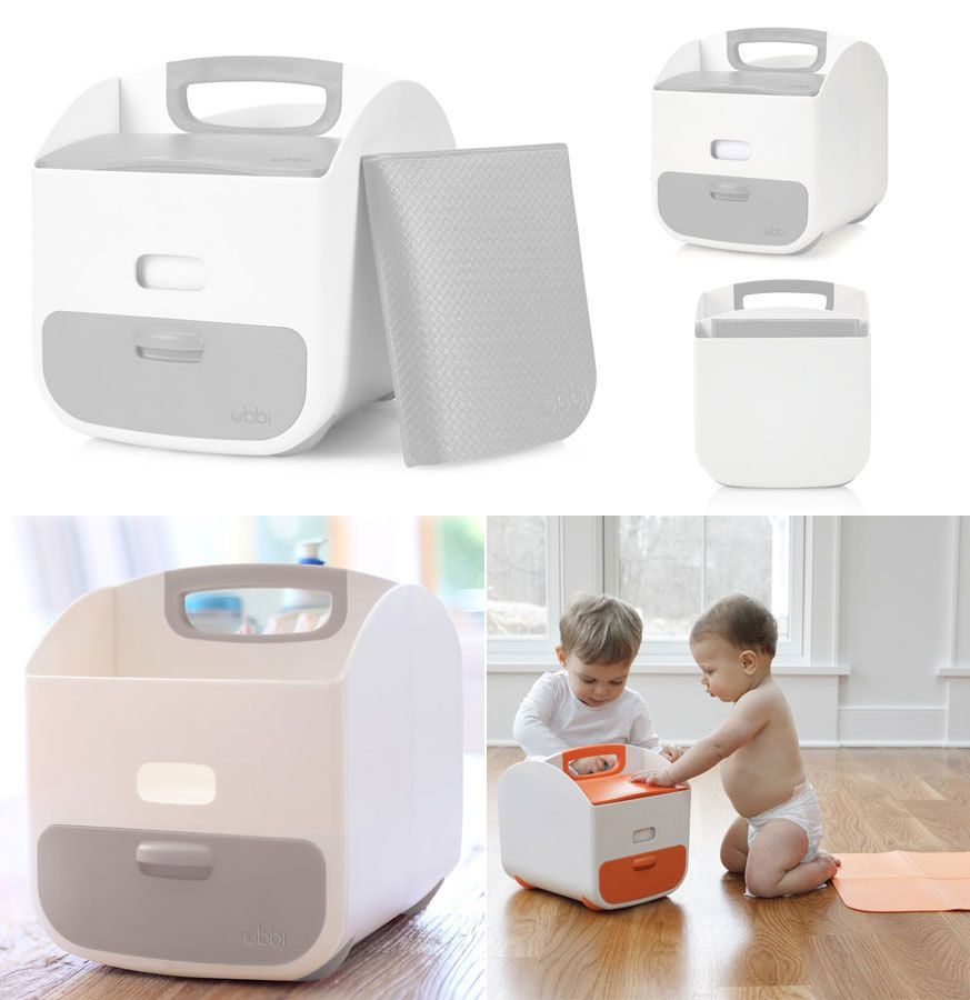 Ubbi Diaper Caddy White Grey Urbanbaby