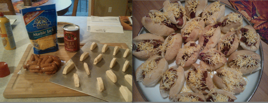 -Homemade Mini Chili Cheese Dogs In honor of Jason Lund.  #footballfood #minichilicheesedog #pinterest #appetizers #packers