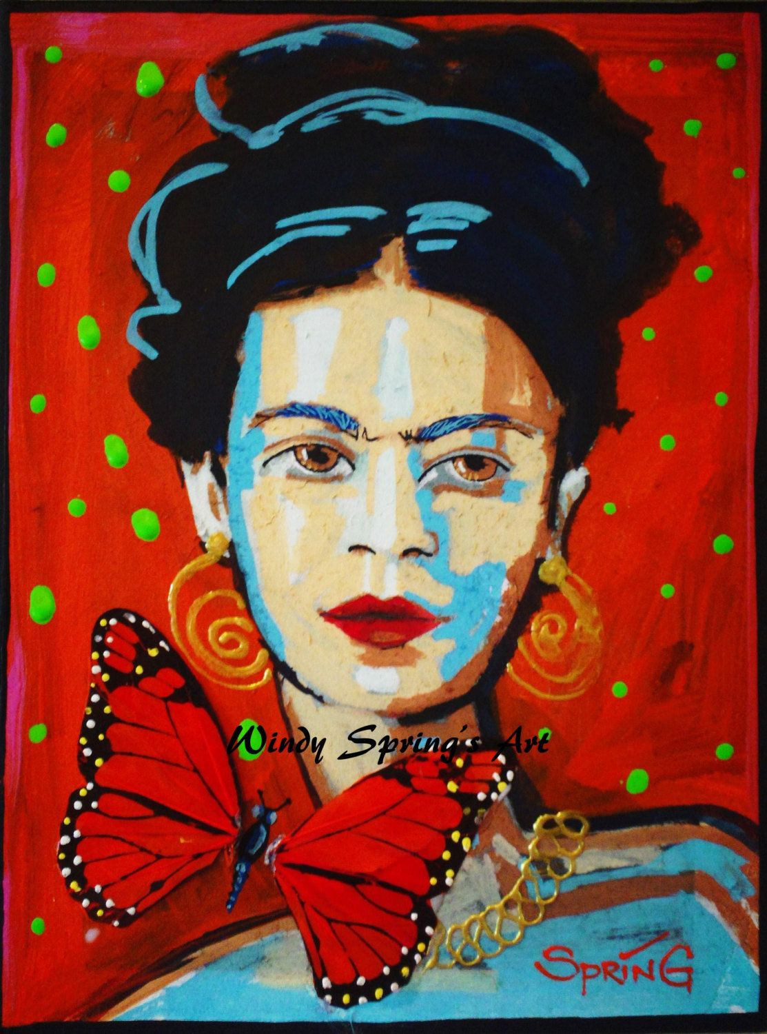 Frida Kahlo Butterfly by Spring 9x12 ORIGINAL PAINTING Acrylic on Canvas. $200.00, via Etsy.