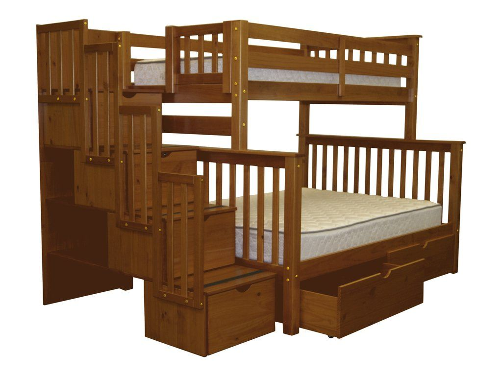 Loft bed with slide wayfair  Bunk Beds Twin over Full Stairway Expresso   Extra Drawers  Bunk