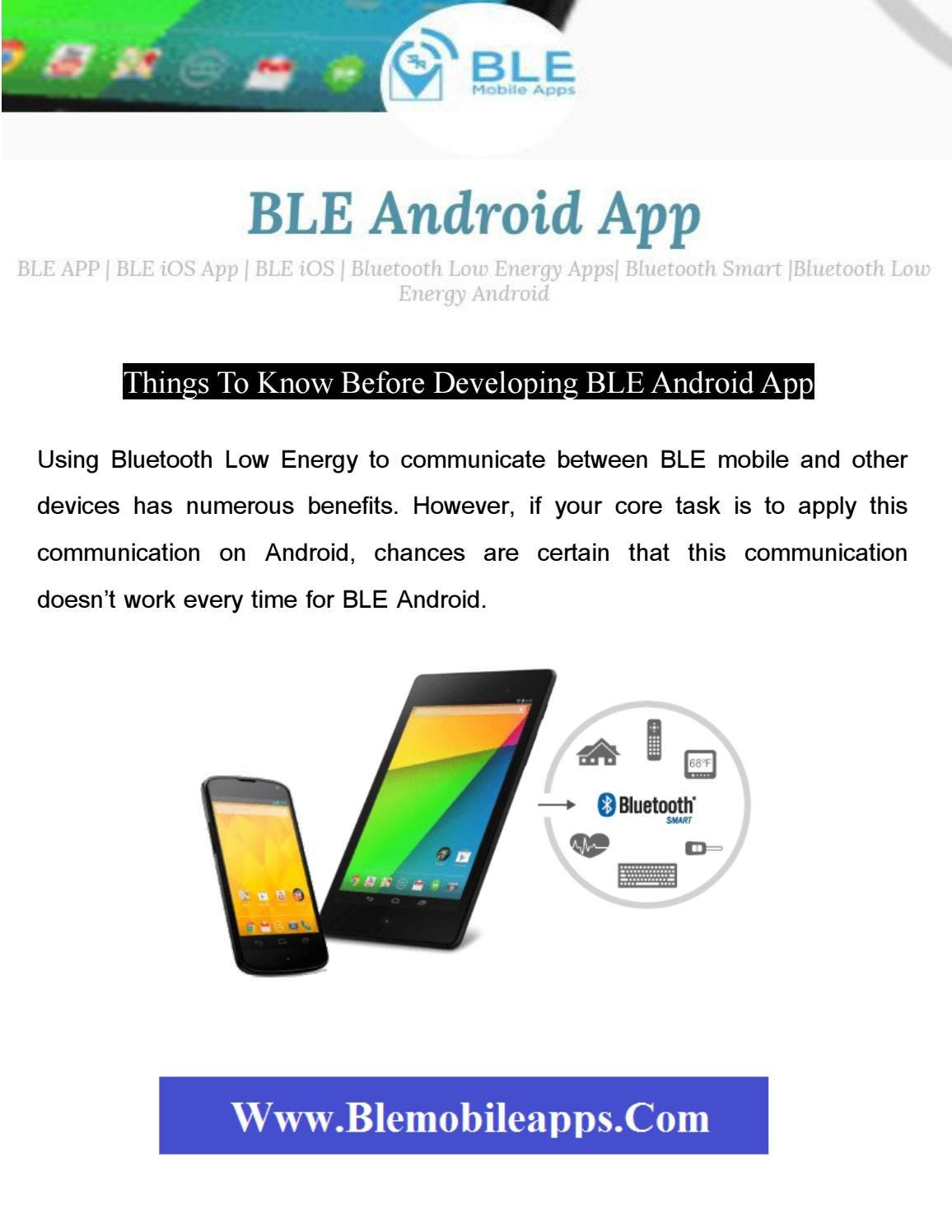 Things To Know Before Developing Ble Android App Mobile App Development Things To Know