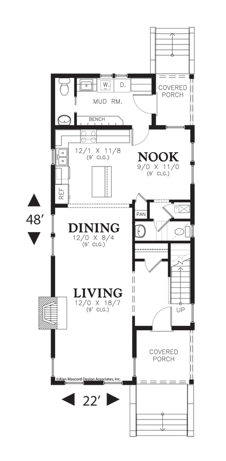 Image For Ashville Compact Traditional Coastal Home Main Floor Plan Town House Floor Plan Narrow Lot House Plans Cape Cod House Plans