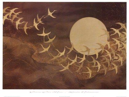 Keiichi Nishimura titled Cranes over Moon