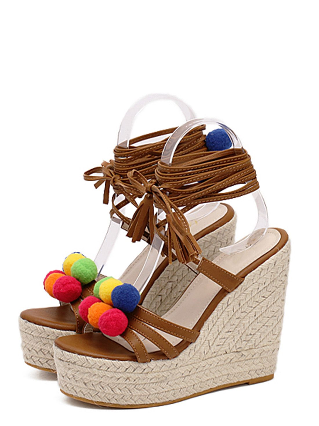 fea651eb7a35a Multicolor Pom-pom Tassel Decorated Wedge Heels. Multicolor Pom-pom Tassel  Decorated Wedge Heels Wedges Online