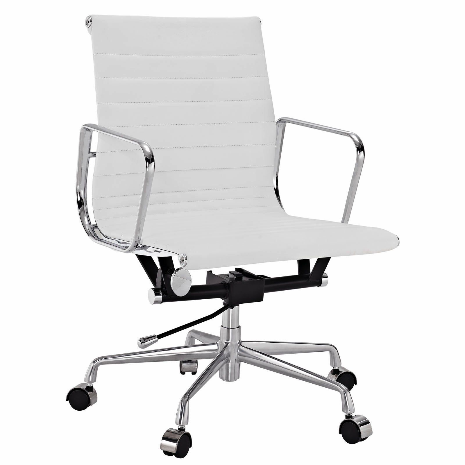Eames Style Aluminum Group Management Office Chair Reproduction Leather White
