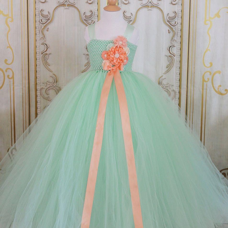 Mint And Peach Flower Girl Tutu Dress Coral Wedding Decorations