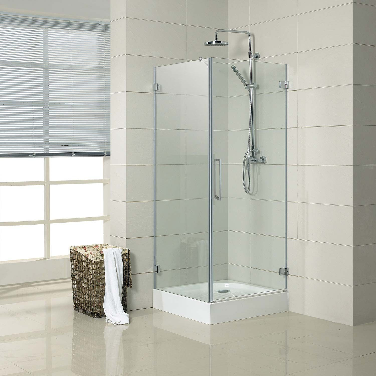 32 X 32 Jannu Square Shower Enclosure With Tray Right Hand Door Brushed Aluminum Shower Enclosure Corner Shower Small Shower Room