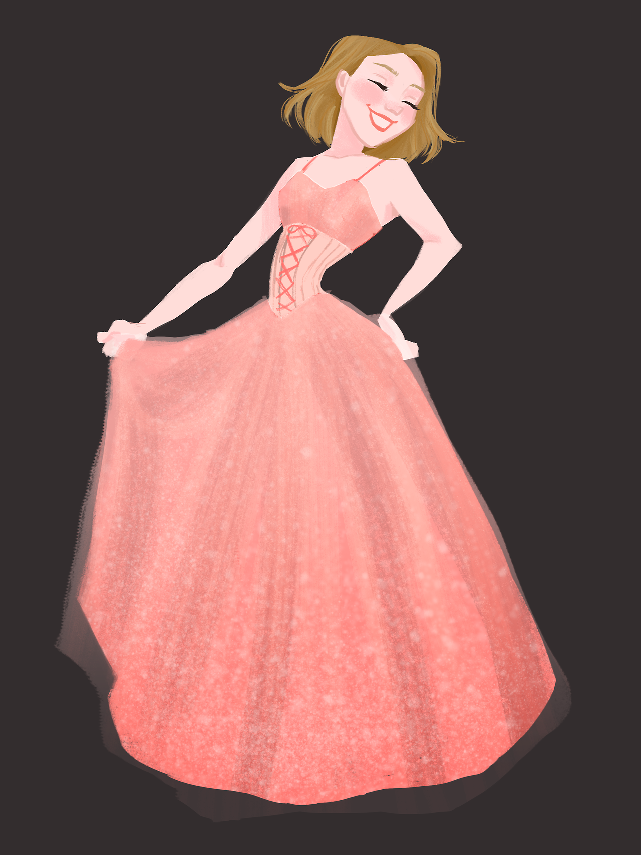 Pink dress drawing  art by drawingpastmybedtime  Character Design  Inspiration