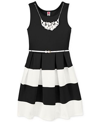 Black and white striped dress for girls